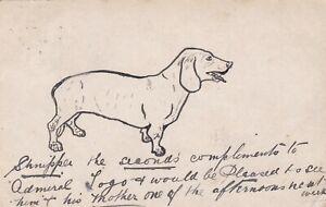 OLD POSTCARD HUMOUR DOG ANIMAL NOVELTY HAND DRAWN 1900S RR23