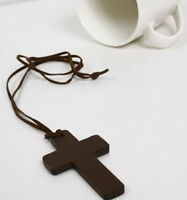 2x Retro Fashion Ancient Cute Wooden Christian Religous Cross Necklace Pendant S