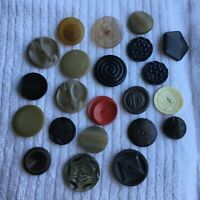 * Group of 22 Vintage Large Buttons plastic Different Colors and Designs