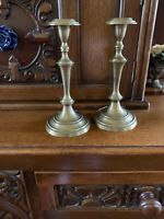 "2 Vintage Mid Century 8.5"" Tall Brass Candlestick Candle Holders Set"