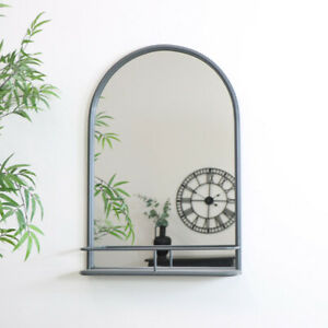 Large Grey Arched Mirror with Shelf bathroom industrial wall shelf decor rustic