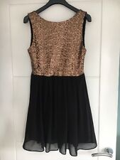 TFNC Christmas Gold Black Sequin Party Low Back Skater Mini Dress Size S VGC