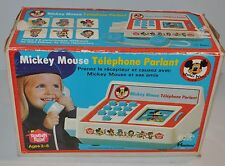 MICKEY MOUSE French Talking Telephone (for Parts) Romper Room w/ Box 1970s - rj