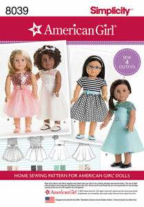 """SIMPLICITY AMERICAN GIRL DOLL CLOTHES Sewing Pattern 18"""" DOLL 8039/ S0172 NEW!"""