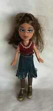 """Bratz 4"""" Mini Doll Girl With Brown Hair Denim Jean Skirt Boots And Sweater Tank"""