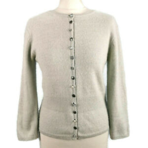 River Island Size 12 Pale Grey Sparkly Buttons Fitted Cardigan Wool Angora Party