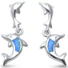 Lab Created Blue Opal Dolphin .925 Sterling Silver Earrings