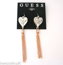 NEW GUESS SILVER TONE HEART+CRYSTAL+ROSE GOLD CHAIN,TASSEL DANGLE HOOK EARRINGS