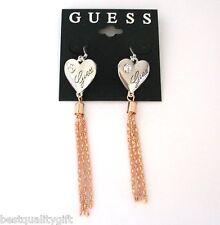 NEW GUESS SILVER TONE HEART+CRYSTAL+ROSE GOLD CHAIN,TASSEL DANGLE HOOK EARRINGS