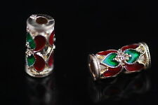 10pcs Thai Design Spacer Enamel Loose Bead Jewelry Making Bowknot Craft Bead