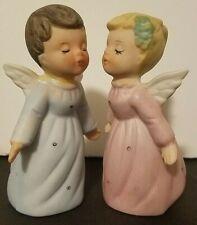 """Vintage Kissing Angels Figurines Pink Blue Porcelain Bisque 3-1/2"""""""