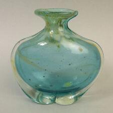 MDINA ART GLASS VASE TRANSLUCENT BLUE SIDE STRIPE DESIGN
