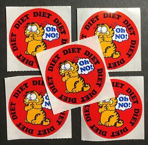 Garfield Diet OH NO! 5 1978 Vintage Stickers Mint Condition 2 inch Diameter