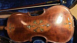 Violin old 4/4 Fiddle vintage antique used  inlaid back