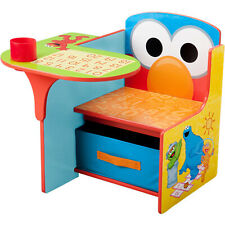 Sesame Street Elmo Toddler Desk Chair With Storage Under The Seat Cup Holder New
