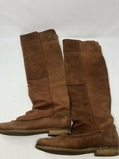 CA SHOTT Womens Brown Leather Knee High Long Pull On Boots Shoes Sz 37 Eur 7-7.5