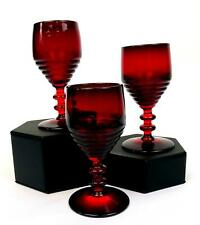 "PADEN CITY GLASS #991 3 PC RUBY RED PENNY LINE 4 1/4"" WINE GLASSES 1931-1951"