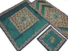 Embroidered Decorative Table Linens - Green Designer Overlay Runner Placemats