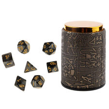 7 Set Polyhedral Dice for Dungeons and Dragons DND RPG MTG+ Dice Cup Black