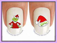 Nail Decals #802X CHRISTMAS Grinch 2 Santa Suit Hat WaterSlide Nail Art Transfer