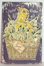 PostCard A Joyful Easter Greet You Little Chick Basket Posted 3-23-1910 Vintage