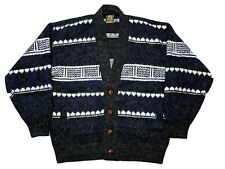 Tejidos Ruminahui Men's Wool Cardigan Sweater Ecuador Black Gray Blue Large L