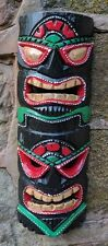 Fair trade Double Tiki mask wall plaque hanging hand painted carved 40cm