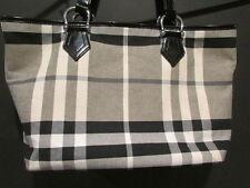 Burberry Designer Black & White Canvas House Check Tote Bag Handbag