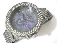 Black Metal Big Case & Band Techno King Men's Watch w Crystals Item 2255