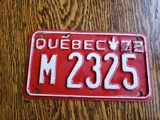 VTG 1966-1972 QUEBEC MOTORCYCLE LICENSE PLATE CANADA