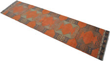 """Faded Hand Knotted Turkish Oushak Orange Runner Rug Distressed Rug 2'9"""" x 11'4"""""""