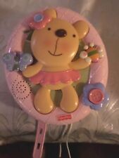 "Fisher-Price 2009 Teddy Bear Flower Butterfly Crib Baby Toy Lights Sound 9""x8"" T"
