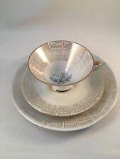 Bavaria Elfenbein Porzellan Bone China Trio Footed Tea Cup Saucer Plate Flowers