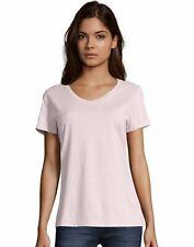Hanes Womens T-Shirt Short Sleeve Top Nano-T V-Neck Solid Plain 100% Cotton SO4V