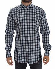 NWT DOLCE & GABBANA Blue Checkered Slim Fit GOLD Mens Shirt 40 /US15.75 /M
