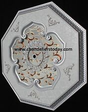 "42"" Octagon Ceiling Medallion- Pearl White/Brown Inlay BUY WHOLESALE PRICE"