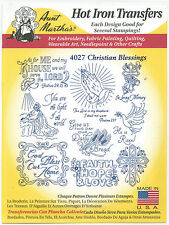 Christian Blessings Aunt Martha's Hot Iron Embroidery Transfer #4027