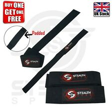 WEIGHT LIFTING STRAPS PADDED GYM WRIST HAND BAR SUPPORT SINGLE LOOP BLACK 1 FREE