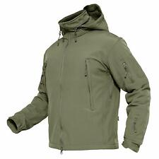 MAGCOMSEN Men's Waterproof Softshell Fleece Army Tactical Jacket with Hood Green