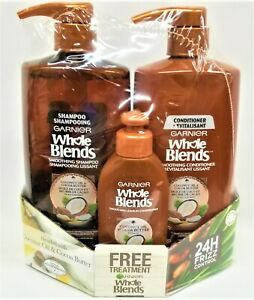 NEW! Garnier Whole Blends Smoothig Shampoo + Condition + Leave-In JUMBO SIZE SET