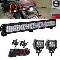 "28"" 30""inch LED Light Bar+2x 4""Pods+Wiring For Polaris RZR 570 800 900 XP1000"