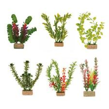 6 x Trixie Plastic Aquarium Plants Fish Tank Decorations with Sand Base - 20 cm