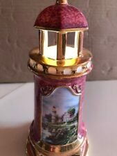 "Vintage 2004 Thomas Kinkade Lighthouse ""Victorian Light"" Lights Up at Top"