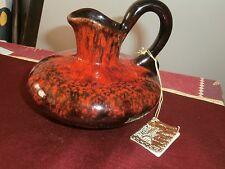 Vtg Evangeline-Art-Pottery Red-Orange Drip Jar Canuck Pottery Quebec
