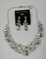 Silver Iridescent Rhinestone Crystal Statement Necklace Set Prom Pageant Dance