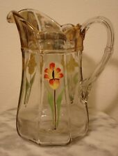 EAPG U.S. Glass Colonis Enamel Decorated Water Pitcher