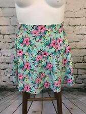 H&M Divided Women's Sz M Skirt Blue Floral Mini Flare High-Waist
