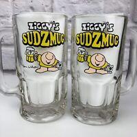 Vintage 1970s Beer Mugs Ziggy Sudzmug Pair of 12 oz Heavy Glass Tom Wilson
