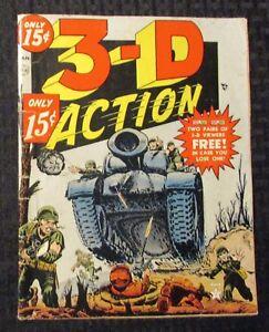 1954 3-D ACTION #1 NO Glasses G/VG 3.0 Atlas War RARE