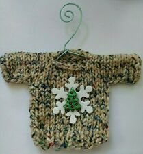 Multicolored Snowflake and Tree  MINI Christmas sweater Ornament